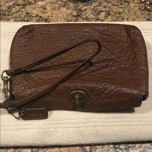 Coach Brown Pebbled Leather Wristlet